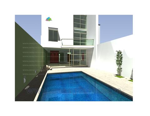 Casa minimalista 3 pisos con piscina casas en queretaro for Casa minimalista con piscina